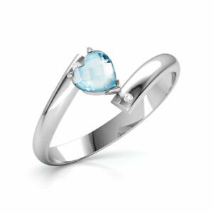 14 White Gold Plated On 925 Silver Heart Cut Aquamarine Engagement Ring For Her