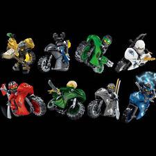 8pcs/lot Cartoon Figures With Motorcycle Building Blocks Bricks Sets Models Toys