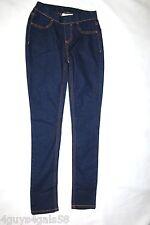 Womens DARK BLUE DENIM JEGGINGS Mock Front 2 REAR POCKETS Size XS 2-4