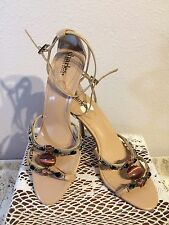 Charles by Charles David Womens Tan & Jeweled Strappy Leather Sandals Sz 6.5 M