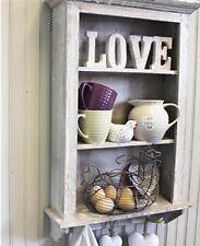 Shabby Chic Wooden Vintage Natural Wash Cupboard Shelves & Hooks
