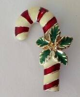Candy Cane & Holly Christmas Brooch Pin Badge Quality Vintage Gift (N16)