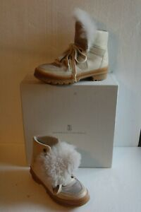 Brunello Cucinelli Leather Hiker Lace Up Ankle Boots Faux Fur