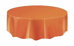 Orange Table Cloth Round Plastic Halloween 7ft (2.13m) Table Cloth Cover