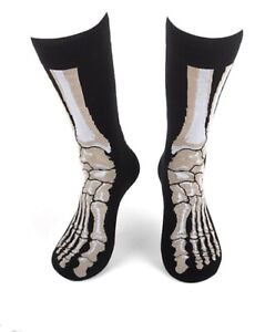 New Mens SKELETON FEET HALLOWEEN Crew Socks SIZE 10-13 Parquet Brand