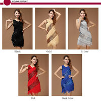 Hot Lady Cocktail Party Latin Ballroom Salsa Dance Sequin Fringe Club Dress AU