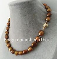 schöne kultivierte 10-11mm braune barocke Süßwasser Perlenkette 18 Zoll