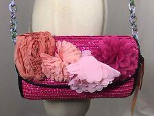 Betsey Johnson Pink Straw Clutch Flower Shoulder Bag Brazil Collection Macy's