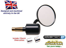 "Oberon 60mm Streetfighter bar end mirror (7/8"" Bars/12-19mm ID) MIS-6014-BLACK"