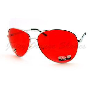 Classic COP PILOT AVIATOR Fashion Sunglasses SILVER/RED LENS
