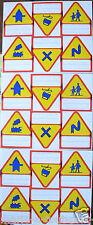 lot 18 Autocollants série panneaux code de la route ANCIENS Stickers cahiers