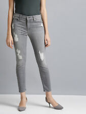 NWT 7 for all Mankind Grey Gray THE SKINNY ANKLE Distressed Jean w/ Stretch 26