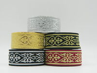 10yds Jacquard Woven Ribbon/Trim Medieval Heart Various colours available