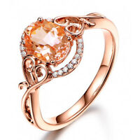 Fashion Rings for Women Rose Gold Filled Jewelry Oval Cut Crystal Ring Size 6-10