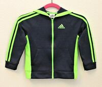 Adidas Hoodie Jacket Sz 6 Unisex Boys Girls Neon Green Blue Track Coat Full Zip