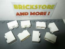 Lego - 8x Brick Brique modified 1x2 2x1 grill grille 2877 White/Blanc/Weiss