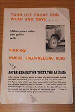 LAND Rover Fairey Manuale Ruota HUB Fairey verricelli foglio di vendita limitata