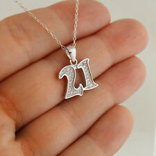 Number 21 Pendant Necklace - 925 Sterling Silver, CZ - Birthday 21st Anniversary