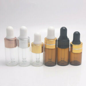 1/2/3ml Amber Clear Small Glass Dropper Bottle Sample Vial Essential Oil Pipette