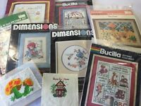 Lot 8 Needlepoint Kits Bucilla Dimensions Sunset WonderArt No Counted  & Counted