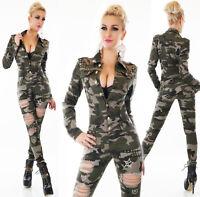 Tuta camouflage militare overall strappi ,ricami oro,borchie elasticizzata nuova