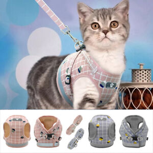 Reflective Mesh Cat Walking Harness Vest and Lead Escape Proof Small Dog Vest