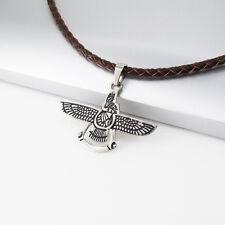 Silber Schwarz Eagle Adler Edelstahl Anhänger Braun Geflochtenen Halskette