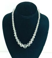 """Vintage Graduated Faceted Clear Glass Crystal Bead Necklace 18"""" Bride Wedding"""