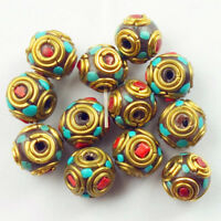 10mm 12Pcs Nepal Rare Earth Bronze Coral Turquoise Round Spacer Beads NN582