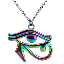 "20"" Rainbow Color Egyptian Eye of Horus Ra Amulet Pendant Charms Necklace"