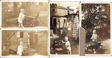 1920s Toddler Boy Playing with Steelcraft Fire Chief Roadster Pedal Car Photos