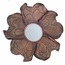 Bronze Flower Design Metal Mirror Wall Art Beautiful Unique Industrial H: 60cm