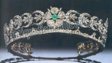 22.55ct ROSE CUT DIAMOND EMERALD .925 SILVER WEDDING ANNIVERSARY TIARA CROWN