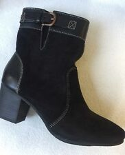 New Sebago Nell Black Leather Ankle Boots sz 5.5M/3UK/35.5 EU