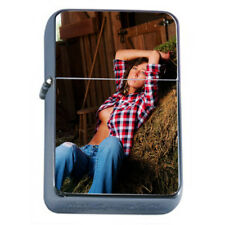 Farmers Daughter Pin Up Girls D3 Flip Top Oil Lighter Wind Resistant With Case