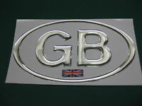 1 GB OVAL CHROME DOME CAR STICKER with Union Flag 130mm X 72mm