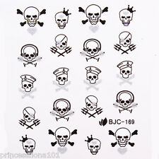 Nail tip Art stickers transfer water decals Black Silver Glitter Skull B169