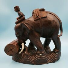 Carved Wood Elephant Pushing Log w/ Man Rider Fantastic Details and Texture