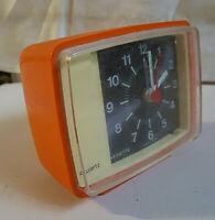 Ancien Réveil VEDETTE QUARTZ Orange Vintage 70's Design Alarme Buzzer