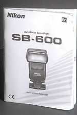 Nikon SB-600 Speedlight Instruction Book / Manual / User Guide #2