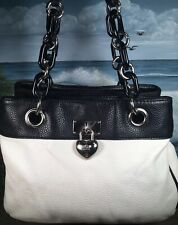 LULU Shoulder Bag Heart Key Chain Handles Multi Comp. Faux Leather EUC TOTE