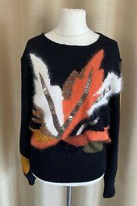 Vintage MADELEINE Pullover schwarz/bunt Materialmix Größe 40/42