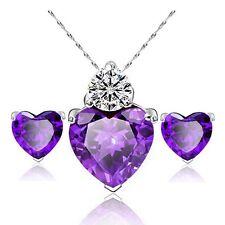 Conjunto De Amatista & Circonita Corazón Collar/Colgante Cristal Pendientes 48cm.