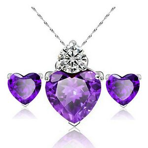 Set Of Amethyst & Cubic Zirconia Heart Necklace Pendant & Earrings 48cm.Crystal