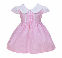 New Girls Striped Party Dress in Blue Pink 9 12 18 24 Months 2 3 4 5 6 7 Years
