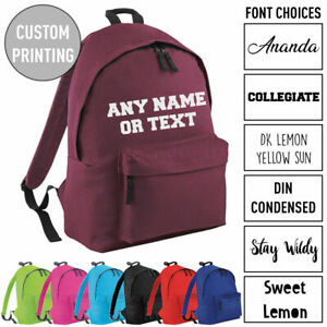 Custom Personalised Kids Any Name Text Backpack Girls Boys School Rucksack Bag