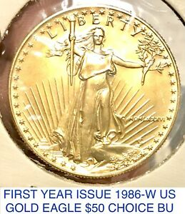 FIRST YR ISSUE 1986-W ST GAUDENS DOUBLE EAGLE GOLD $50 1 OWNER LIKELY COLLAR VAR