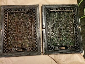 "Set of 2 Victorian 9""X12"" Cast Iron Floor Heat Grate Vent Cover"