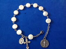 """Custom MOTHER of PEARL Rosary Bracelet Miraculous 10mm Stainless Steel Chain 8"""""""