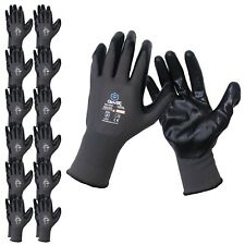 Glovbe 12 6 Pairs Mechanic Work Gloves Nitrile Coated Oil Amp Gas Resistant